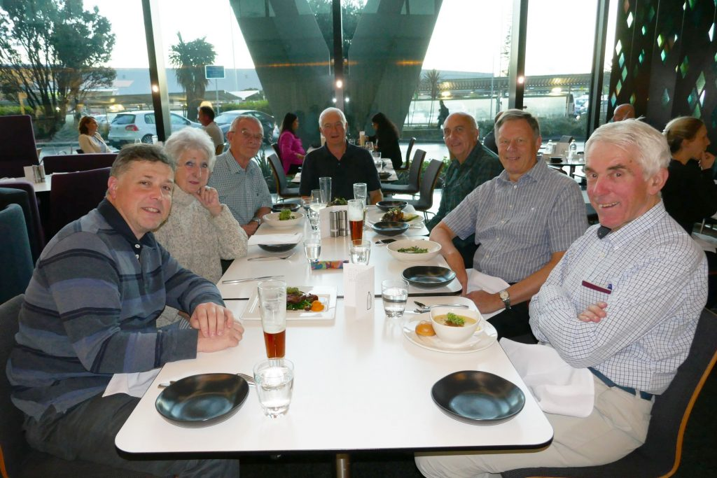 The team at dinner in Auckland. L toR: G4TSH, G4JKS, G3BJ, G3WPH, G3XTT, G3SVL and G3TXF